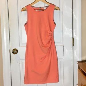 Coral Blush Back Zipper Midi Dress